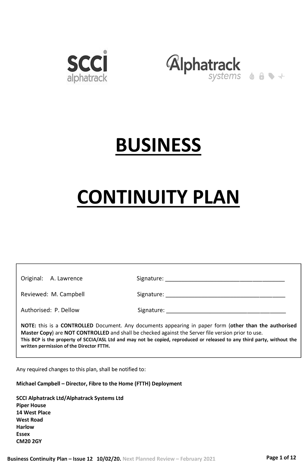 Alphatrack Systems Ltd Business Continuity Plan 2020